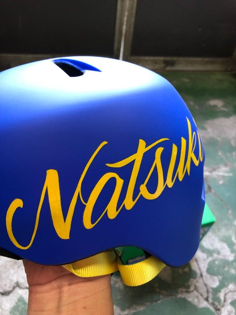 ヘルメットにピンストライプ